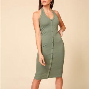 NEW | Olive Green Halter Bodycon Midi
